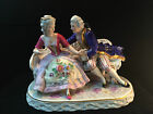 Antique porcelain. Large Dresden - volkstedt group . Lord and lady