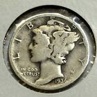 1936 SILVER MERCURY DIME VERY NICE COIN