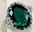 5CT Emerald Quartz 925 Solid Genuine Sterling Silver Victorian Style Ring Sz 6