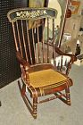 Antique Paint Decorated ROCKING CHAIR Cane Seat hitchcock stencil painted rocker