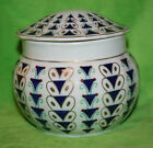 Vintage Bavaria Porcelain White/ Cobalt Blue Covered Jar -GK Co., Sandmalerei