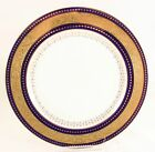 ANTIQUE MINTON CHINA G9445 DINNER PLATE COBALT BLUE RAISED GOLD ENCRUSTED WHITE