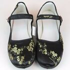 Womens Chinese Mary Jane Plum Floral Brocade Shoes Black  Gold Size 5 11 New