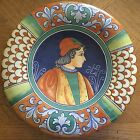 DERUTA Pottery Renaissance Lord Gentleman Portrait Plate Made In Italy