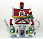 SPODE Christmas Tree Village Hall Figurine Teapot and Lid 2002