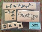 DOTS CTMH S248 FLORAL GREETINGS Set of 7 Stamps Vines Flowers Joy Happy Spring