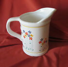 VINTAGE CERMAIC WHITE TALL MEASURE JUG W POUR SPOUT SMALL FLOWERS  WITH HANDLE