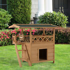 Wooden Pet House Cat Room Dog Puppy Large Kennel Indoor Outdoor Shelter w Roof
