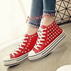 Athletic Casual Women Canvas Punk Rivet High Top Shoes Lace Up Fashion Sneakers