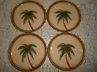 4 Tommy Bahama Embossed Palm Tree Handmade China Salad Plates Tropical