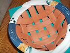 Clay Pottery Terra Cotta Woven Bowl Basket with Glazed Top Rim Made by BONOE