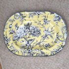 222 FIFTH ADELAIDE YELLOW  LARGE OVAL SERVING PLATTER BRAND NEW TOILE BIRD