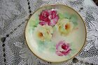 ANTIQUE RICHARD GINORI HAND PAINTED SIGNED PLATE, ROSES, 8 3/4