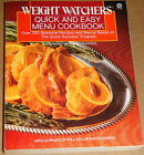 Quick and Easy Menu Cookbook by Weight Watchers International 1987