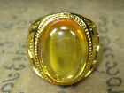 Rare Magic Blessed Yellow Naga Eye Stone Gold Ring Protective Thai Buddha Amulet