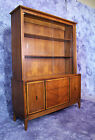 American Mid Century Modern Walnut China Cabinet Breakfront Bookcase Cupboard
