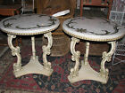 Pair of Vintage Italian White Marble Top Tables  W/Brass Inlaid Flower Pattern