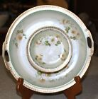 Antique Germany Handpainted porcelain Apple Blossom 2 tier condiment dish plate