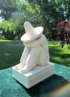 Vintage White Ceramic Porcelain Mexican Man in Sombrero Bookend Old Figurine