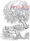Deep Red Rubber Stamp Weeping Willow Tree Row Boat Pond Nature Scene