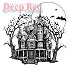 Deep Red Rubber Stamp Haunted Mansion Happy Halloween Spooky House