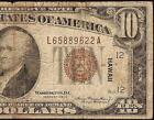 1934 A $10 DOLLAR BILL WWII HAWAII BROWN SEAL NOTE PAPER MONEY CURRENCY Fr 2303