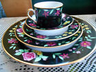 Fitz & Floyd Amboise NEW 20 Piece China Elegant Floral & Black Border FREE SHIP
