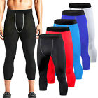 Mens Compression 3 4 Pants Gym Workout Pants Sports Exercise Base Layers Tights