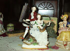 DRESDEN Porcelain Lace Couple Lady Man Hand Painted Germany German Antique