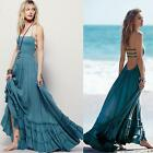 Vintage Boho Halter Backless Long Maxi Dress Beach Festival Bloggers S M L XL