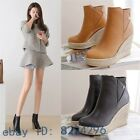 Womens retro braided wedge high heel ankle boots shoes vintage comfy platform