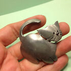Vintage Signed ULTRA CRAFT Pewter KITTY CAT /KITTEN BROOCH Pin Animal Jewelry