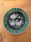 19th Century Japanese Signed Porcelain Noir Charger Floral Design Museum Quality