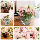 5 Heads Bouquet Artificial Peony Silk Flowers Wedding Bridal Party Home Decor