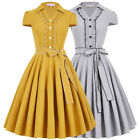 50s 60s Housewife Retro Vintage Swing Pin Up Dresses Flared TEA PARTY Gown Dress
