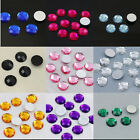 100Pcs 12mm Faceted Round Acrylic Loose Beads Rhinestones Flatback DIY Crafts