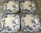 Adelaide Blue Square Dinner Plates. Set Of 4. Beautiful. 222 Fifth. New