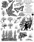 Unmounted Rubber Stamp Sheets Trees Nature Scenic Stamps Quotes Fishing