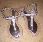 NEW  Laura Ashley  Girls SIZE 13  Silver Glitter Thong Sandals  VERY CUTE