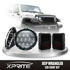 75W LED DRL Headlight Smoke Lens Black Taillight Combo For 07-18 Jeep Wrangler