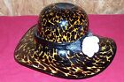 Large Blown Glass Ladies Hat Leopard Display Hand Art Artists Big Collectible