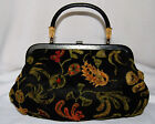 Vintage Black Floral Carpet Bag Style Purse