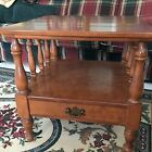 Vintage Ethan Allen Heirloom Nutmeg Maple Square End Table W/drawer