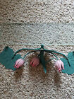 Vintage MID CENTURY Lily Pad and Tulip metal and glass HANGING SHELF - Awesome!