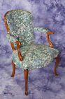 French Provincial Louis XV Country Upholstered Armchair Chair Bergere Fauteuil