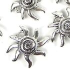 15 Silver Pewter Sea Star Fish starfish Spiral Charm Pendant 16mm Lead Free
