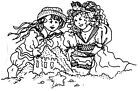 Unmounted Rubber Stamps Beach Girls Children Sand Castle Vacation Sayings