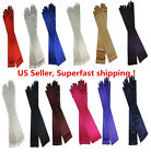 Womens Evening Party Formal Gloves 22 Long Black White Satin Finger Mittens