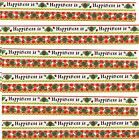 SRM Press Border HAPPINESS Is Scrapbook Stickers 6 Sheets Flowers Garden