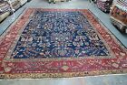 Antique Persian Allover Mahal Sultanabad Rug 10'8 x 13'1 Hand Knotted Wool Navy